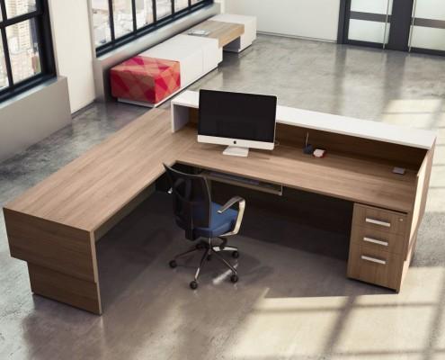 Inbox reception furniture in L-shape