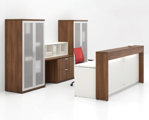 Common Sense Office Furniture carries a large number of reception desks from different manufacturers, like Groupe Lacasse.