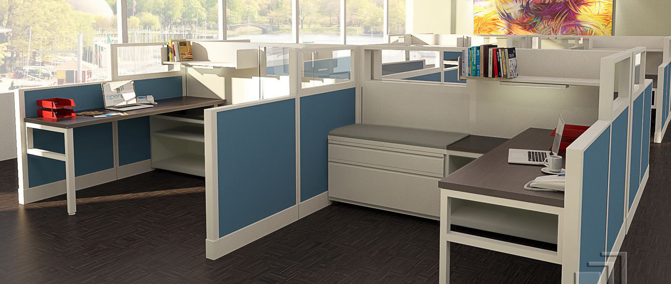 Herman Miller AO2 workstation in open setting.